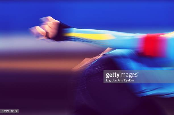 Midsection Blurred Motion Of Man Running