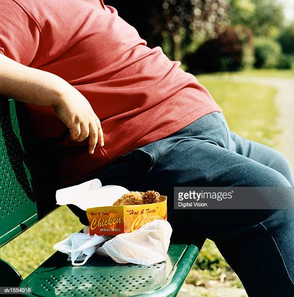 mid-section of an overweight man sitting on a park bench with take-away food - gordo fotografías e imágenes de stock