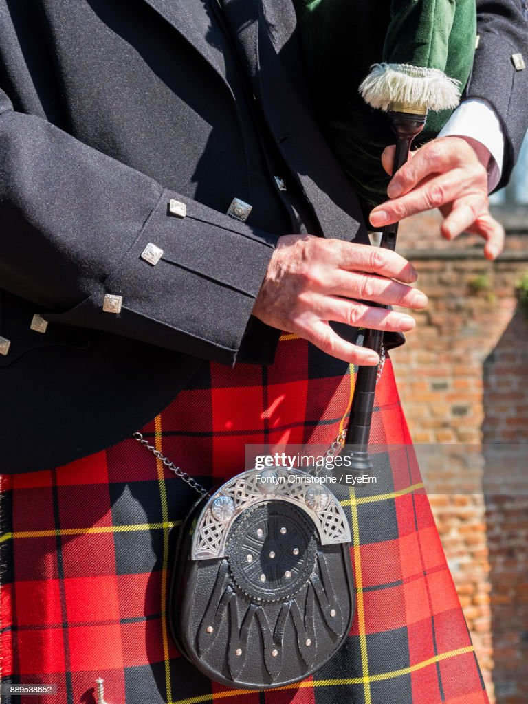 Midsection Of Bagpipe : Stock Photo