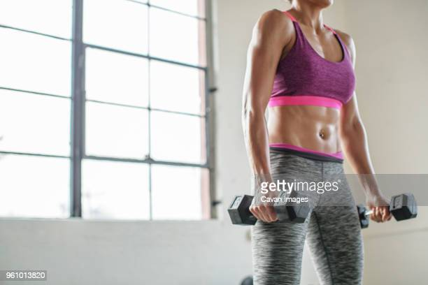 midsection of female athlete lifting dumbbells in gym - ブラトップ ストックフォトと画像