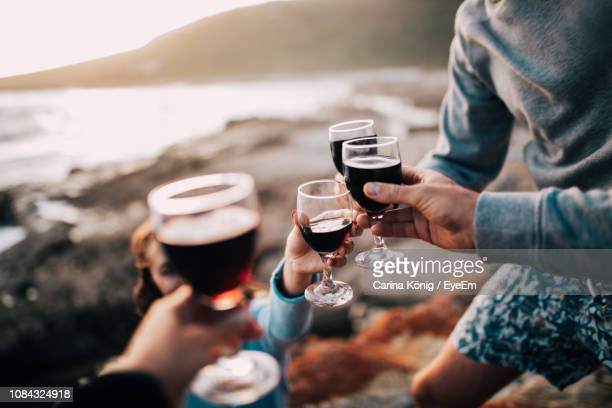 midsection of friends toasting wineglasses - vin photos et images de collection