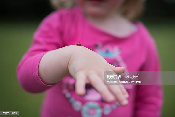 Midsection Of Girl Holding Ladybug On Hand
