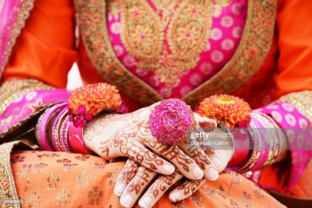 Midsection Of Indian Bride : Stock Photo