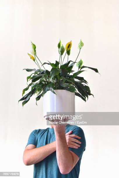 midsection of man holding flower pot against white background - obscured face stock pictures, royalty-free photos & images