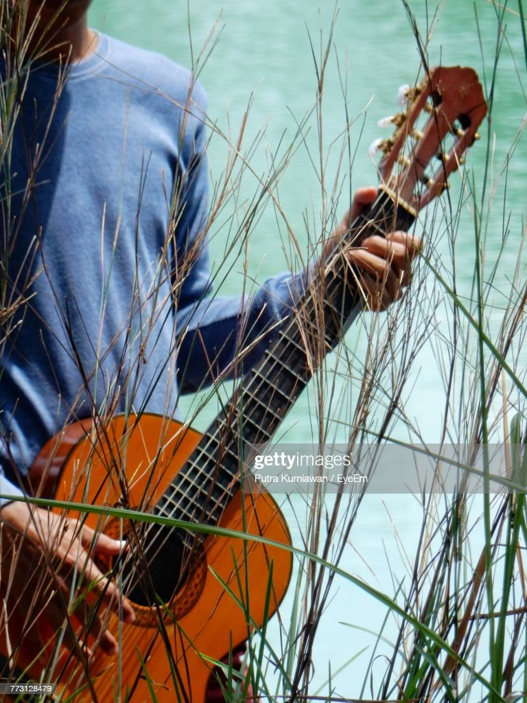 Midsection Of Man Holding Guitar By Plants : Photo
