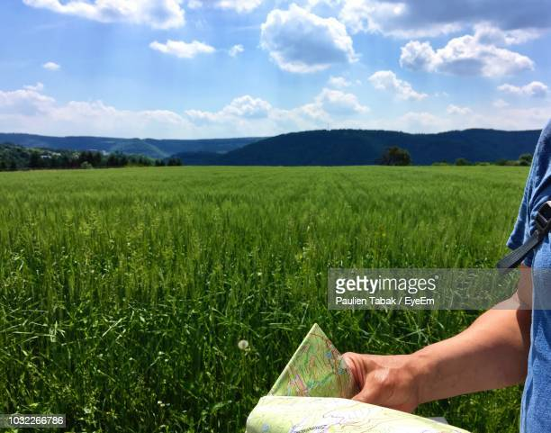 midsection of man holding map on grassy landscape during sunny day - paulien tabak 個照片及圖片檔