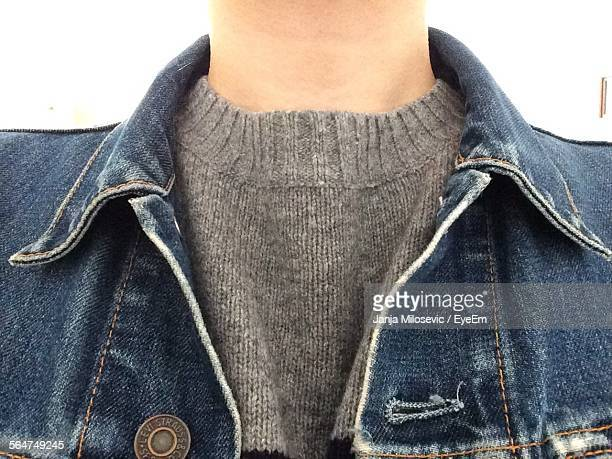 Midsection Of Man In Denim Jacket