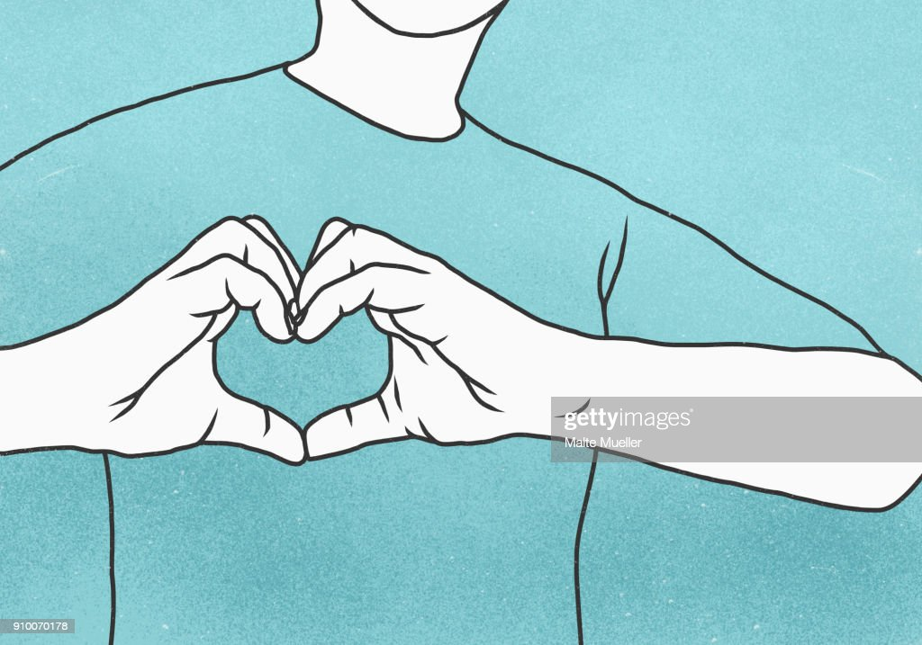Midsection of man making heart shape against blue background : Stock-Foto