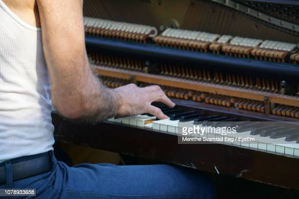 midsection of man playing piano - washington square park stock pictures, royalty-free photos & images