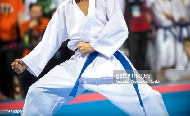 midsection of man practicing martial arts - martial arts stock pictures, royalty-free photos & images