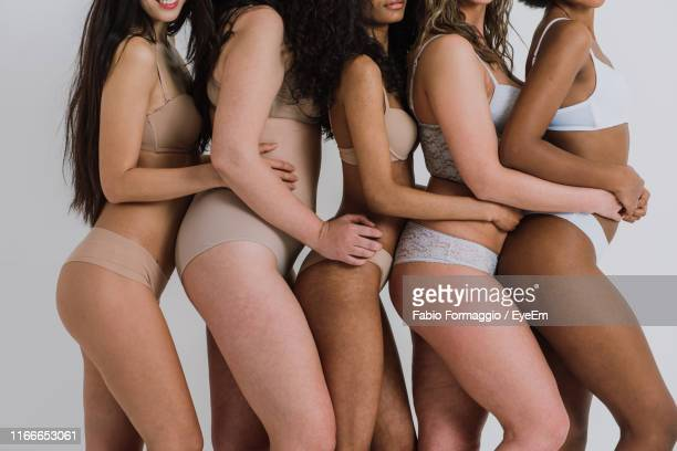 midsection of multi-ethnic women in lingerie against gray background - bras stock pictures, royalty-free photos & images