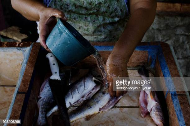 midsection of person cleaning fishes in container - midsection stock pictures, royalty-free photos & images