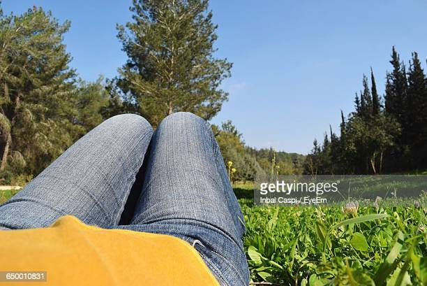 Midsection Of Person Lying On Grassy Field Against Clear Sky