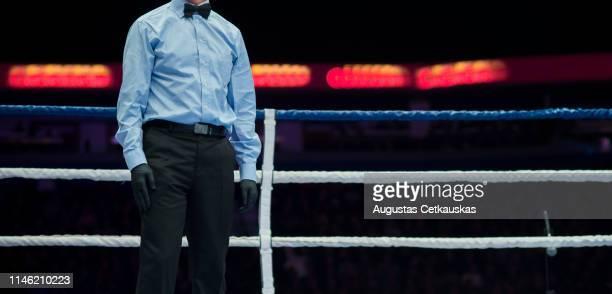 midsection of referee standing in boxing ring - vechtsport stockfoto's en -beelden
