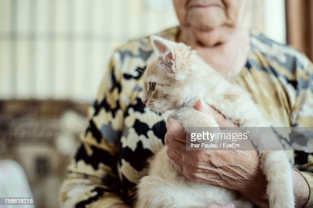 Midsection Of Senior Woman Carrying Kitten At Home