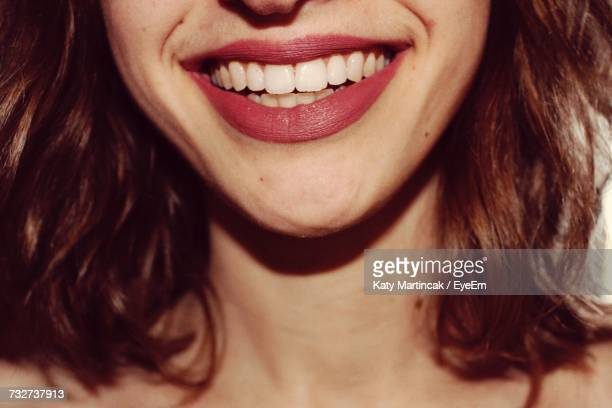 Midsection Of Smiling Woman