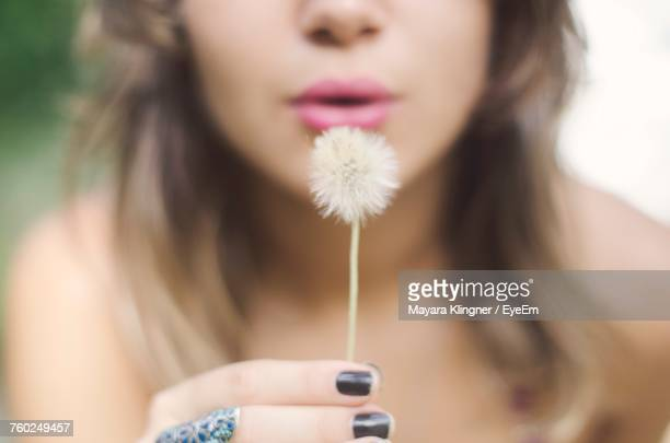 Midsection Of Woman Blowing Dandelion
