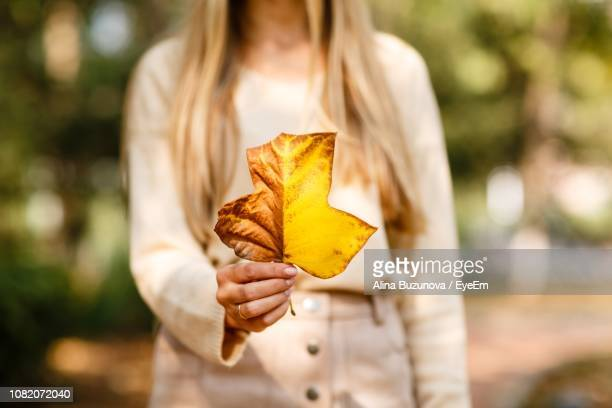 Midsection Of Woman Holding Autumn Leaf