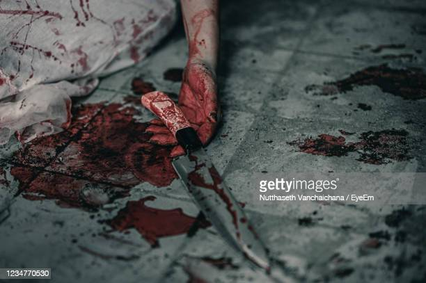 midsection of woman holding blooded knife on floor - 殺す ストックフォトと画像
