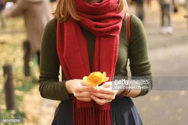 midsection of woman holding flower - スカーフ ストックフォトと画像