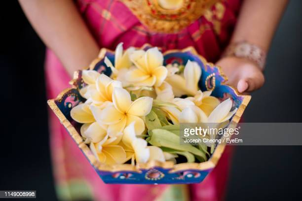 midsection of woman holding flowers in bowl - denpasar stock pictures, royalty-free photos & images