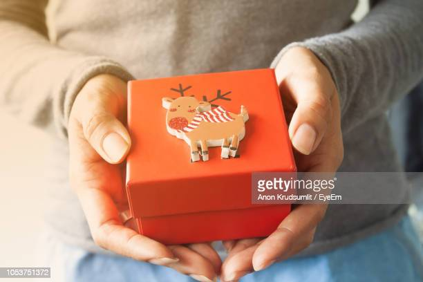 Midsection Of Woman Holding Gift