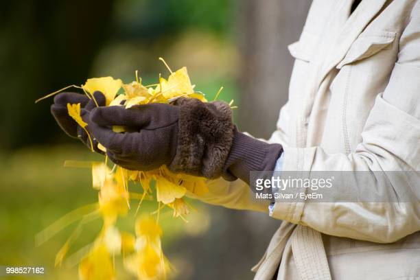 Midsection Of Woman Holding Leaves