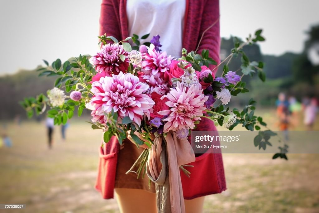 Midsection Of Woman Holding Pink Flower Bouquet : Stock Photo
