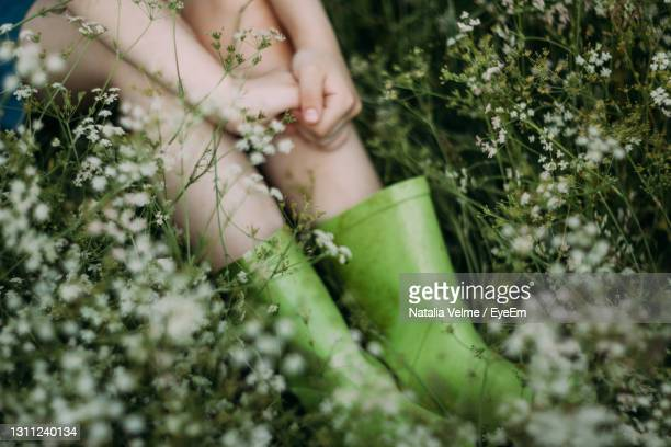 midsection of woman holding plant - rubber dress stock pictures, royalty-free photos & images