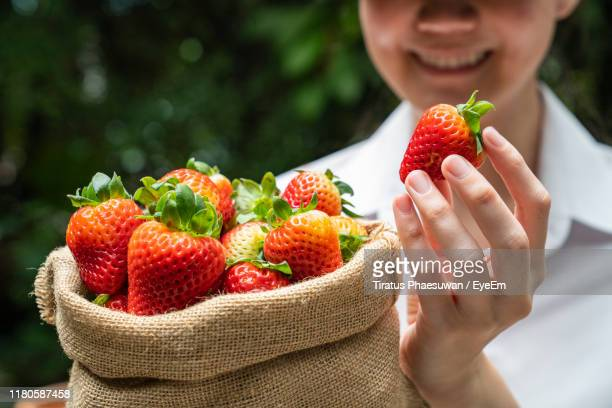 midsection of woman holding strawberries in sack - 布の袋 ストックフォトと画像