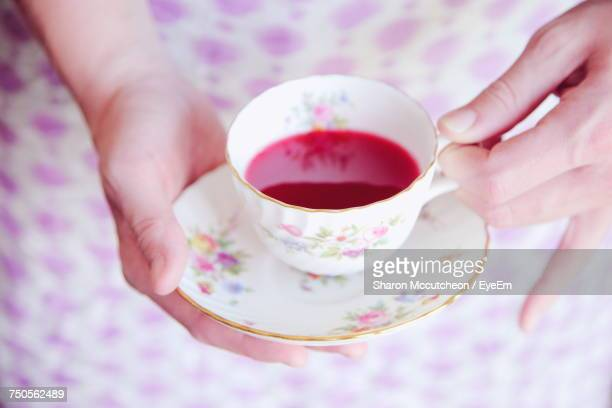 midsection of woman holding tea cup - porcelain stock photos and pictures