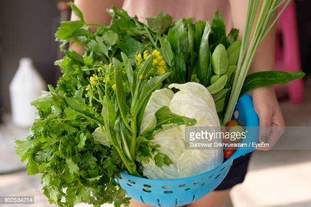 Midsection Of Woman Holding Vegetables In Basket