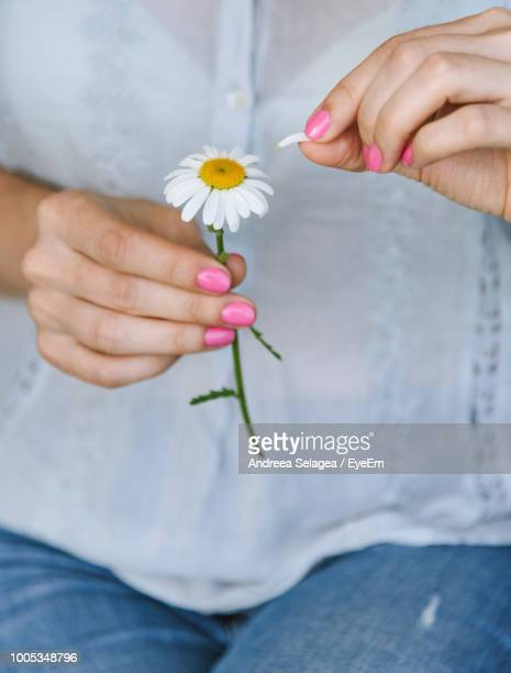 Midsection Of Woman Holding White Flower