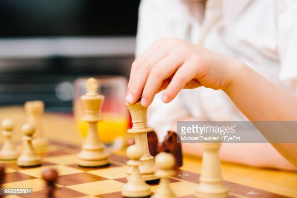Midsection Of Woman Playing Chess