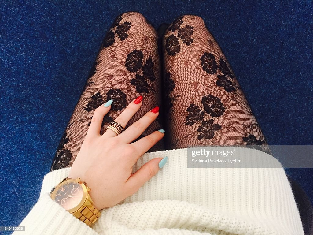 Midsection Of Woman Wearing Netting Stockings : Stock Photo