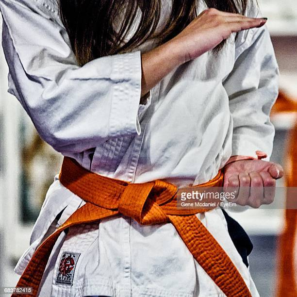 Midsection Of Young Woman Practicing Karate