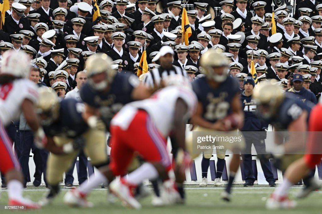 Midshipman look on as Southern Methodist Mustangs plays the Navy Midshipmen at Navy-Marines Memorial Stadium on November 11, 2017 in Annapolis, Maryland.