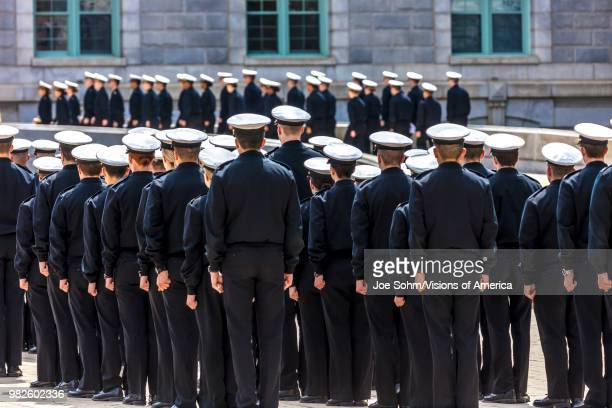 Midshipmen are seen in formation before lunchtime US Naval Academy Annapolis Maryland