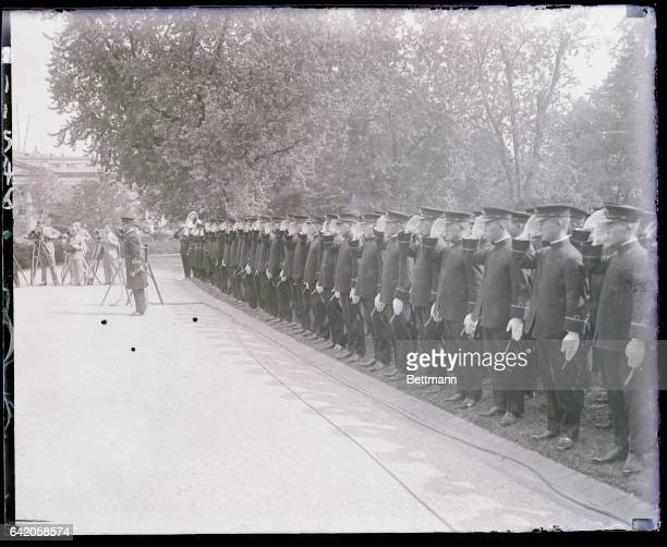Midshipmen of the Japanese training ships Iwate and Asama who are visiting the United States are seen as they stood at attention this morning at the...