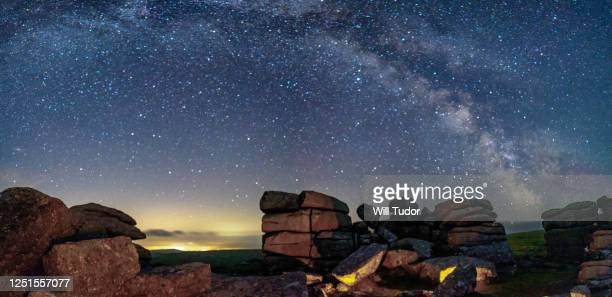 midsummer 2020, combestone tor & venford reservoir - astronomy stock pictures, royalty-free photos & images