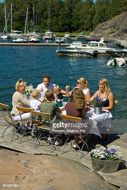 midsummer celebrations in the archipelago of stockholm, sweden. - midsummer sweden stock pictures, royalty-free photos & images