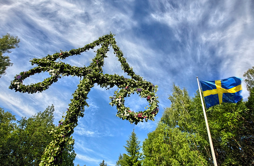 Midsummer celebrations on sunny day in Finland 148364996