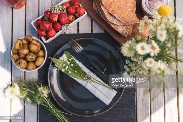 midsummer food - midsommar stock pictures, royalty-free photos & images