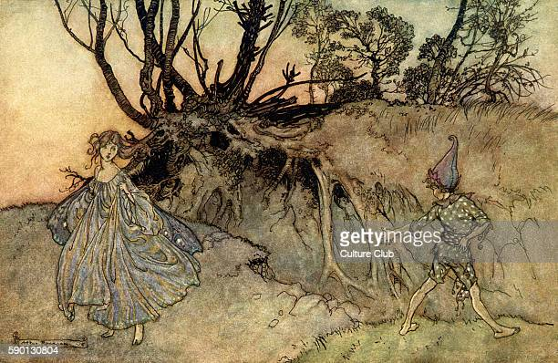 A Midsummer Night's Dream Illustration by Arthur Rackham to the play by William Shakespeare Act 2 scene 1 Puck and a fairy 'How now spirit Whither...