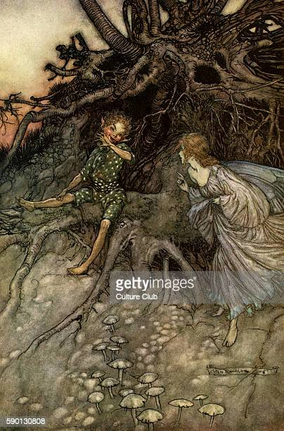 A Midsummer Night's Dream Illustration by Arthur Rackham to the play by William Shakespeare Act 2 scene 1 Puck 'I am that merry wanderer of the...