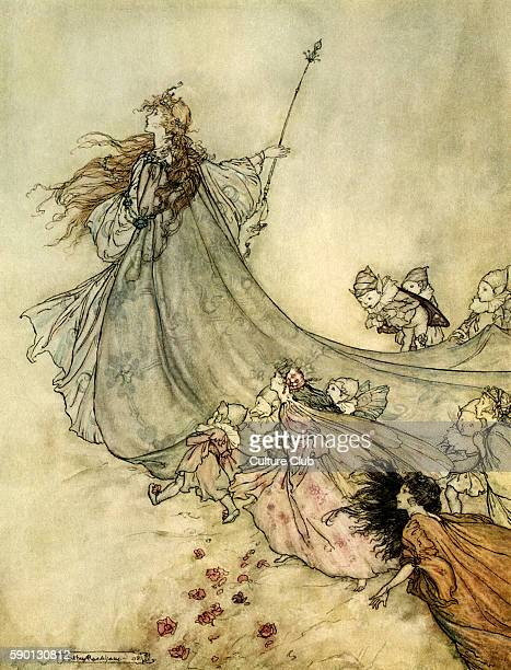 A Midsummer Night's Dream Illustration by Arthur Rackham to the play by William Shakespeare Act 2 scene 1 Titania and her attendants 'Fairies away /...