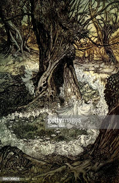 A Midsummer Night's Dream Illustration by Arthur Rackham to the play by William Shakespeare Act 2 scene 2 Titania and her attendants 'Come now a...