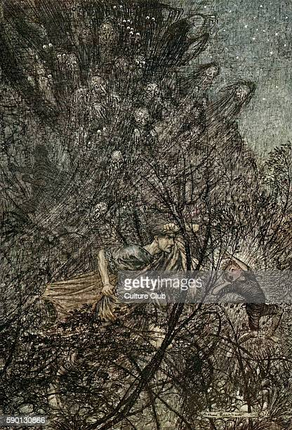 A Midsummer Night's Dream Illustration by Arthur Rackham to the play by William Shakespeare Act 3 scene 2 Puck leading Lysander through the forest...