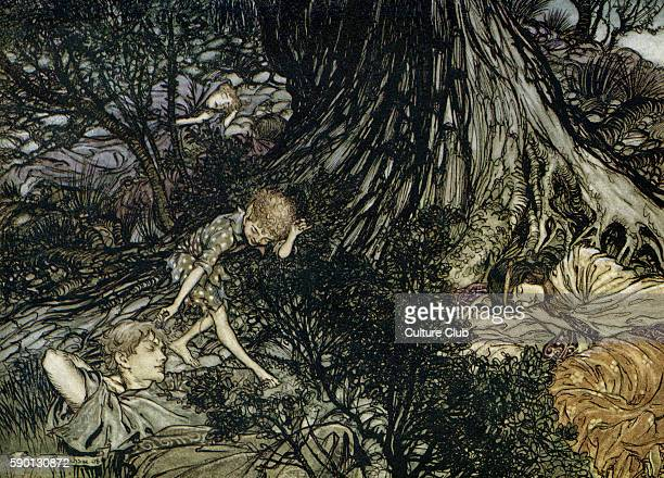 A Midsummer Night's Dream Illustration by Arthur Rackham to the play by William Shakespeare Act 3 scene 2 Lysander Demetrius Hermia and Helena sleep...