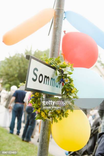midsummer wreath on summer sigh - midsummer sweden stock pictures, royalty-free photos & images